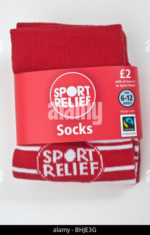 Pair of Fairtrade size 6 to 12 Sport Relief red and white stripe socks - Stock Photo