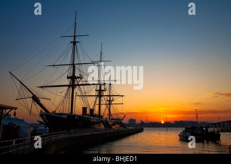 HMS Warrior at sunset, Portsmouth Historic Dockyard, Hampshire, Uk - Stock Photo