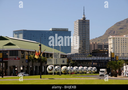 Cape Town South Africa World Cup 2010 venue oversize footballs in the city depicting past World Cup venues