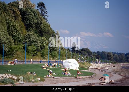 White Rock, BC, British Columbia, Canada - Seaside Promenade Walkway along Beach at Semiahmoo Bay - Mount Baker, - Stock Photo