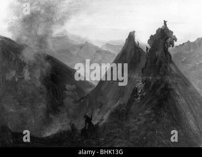 geography / travel, Mexico, landscapes, landscape with volcano Jorullo, crater, painting by J. M. Rugendas, Staatliche - Stock Photo