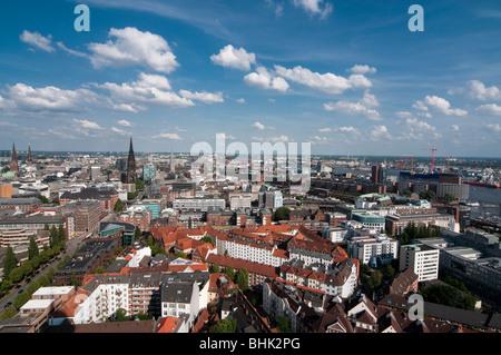 Blick vom Michel über die Stadt, Hamburg, Deutschland | view from tower of St. Michaelis church, Hamburg, Germany - Stock Photo