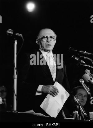 Menachem Begin (1913-1992), 6th Prime Minister of Israel. Artist: Sidney Harris - Stock Photo