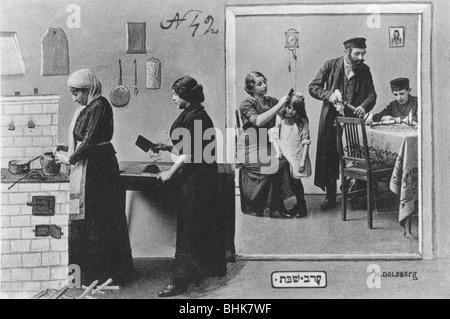 Jewish family preparing for Shabbas, Poland, early 20th century. - Stock Photo