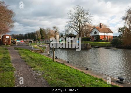 Boveney Lock on the River Thames between Maidenhead and Windsor, Berkshire, Uk - Stock Photo