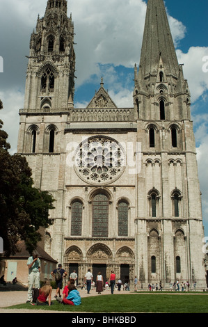 Chartres, France - Notre Dame Cathedral, Tourists Visiting Front, Facade, - Stock Photo