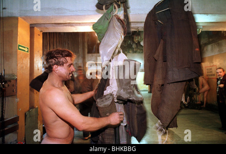 Miners in the Kleofas mine, changing clothes, Katowice, Poland - Stock Photo