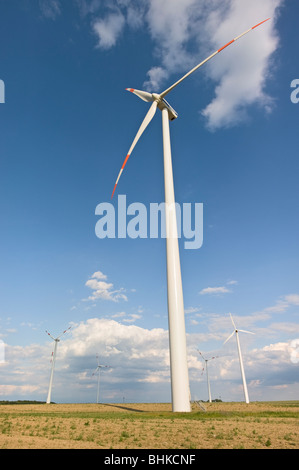 Wind wheels near Bernau, Brandenburg, Germany, Europe - Stock Photo