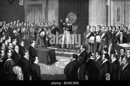 Frederick William IV, 15.10.1795 - 2.1.1861, King of Prussia 7.6.1840 - 26.10.1858, swearing oath on the constitution, - Stock Photo