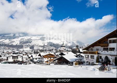 View over the resort from the bottom of the slopes, Kirchberg, near Kitzbuhel, Tyrol, Austria - Stock Photo