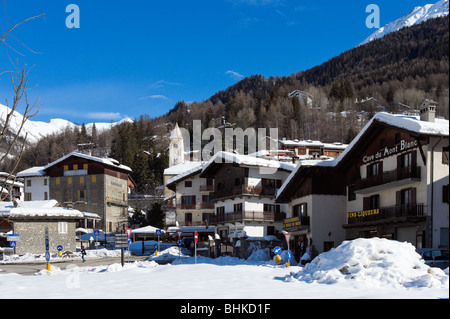 View towards the centre of the resort, Courmayeur, Aosta Valley,Italy - Stock Photo