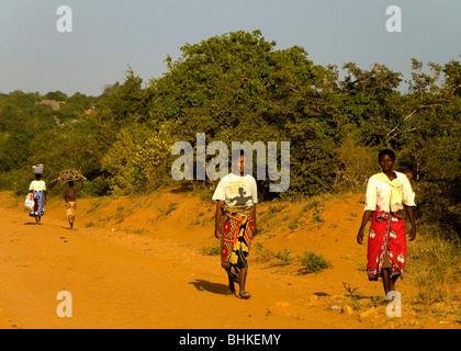People walking home, Malindi, Kenya, Africa - Stock Photo