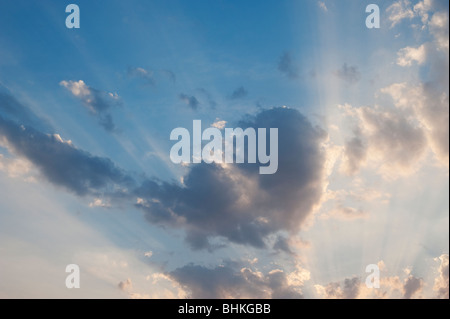Heart shape cloud and sunset in india - Stock Photo