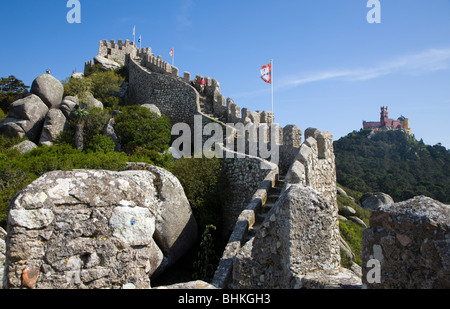 Portugal Sintra the Moorish Castle at sintra with views to Palace of Pena - Stock Photo