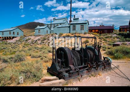 Rusting Mining Equipment, Standard Stamp Mill, Bodie California - Stock Photo