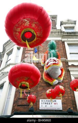Chinese New Year 2010 in Wardour Street, Chinatown, London, England - Stock Photo