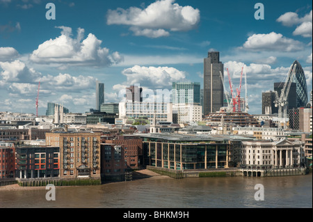 city of london skyline from southbank of river thames - Stock Photo