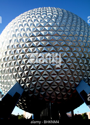 Spaceship earth Epcot, Orlando Florida USA - Stock Photo