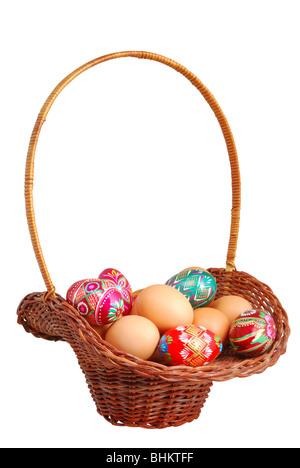 Easter basket isolated on white background - Stock Photo