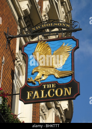 Inn Sign for The Falcon, Clapham Junction, London. - Stock Photo