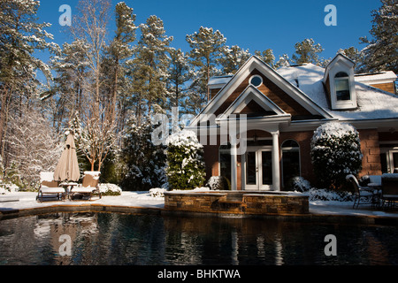 Pool House and swimming pool with blanket of snow morning after unusual southern climate winter snowstorm Southeast - Stock Photo