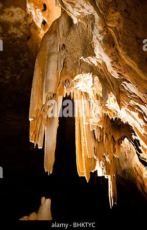 Stalactites and draperies in Natural Bridge Caverns Texas USA - Stock Photo