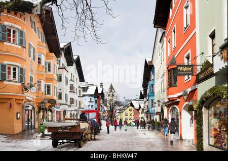 Vorderstadt in the centre of the old town, Kitzbuhel, Tyrol, Austria - Stock Photo