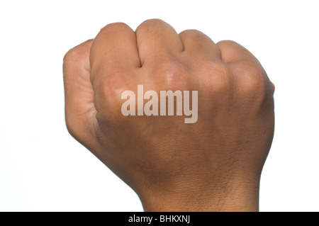 Close up of a man's clenched hand - Stock Photo