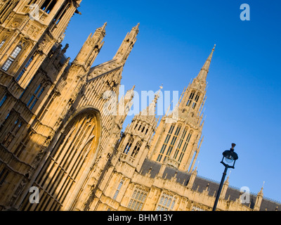 London, Greater London, England. Gothic spires of the Houses of Parliament, tilted view. - Stock Photo