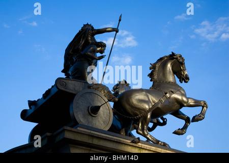 London, Greater London, England. Statue of Boudicca, designed by Thomas Thornycroft, near Westminster Bridge. - Stock Photo