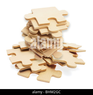 Pile of Jigsaw Puzzle Pieces - Stock Photo