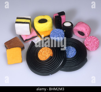Sweets, confectionery made from liquorice, Liquorice Allsorts - Stock Photo