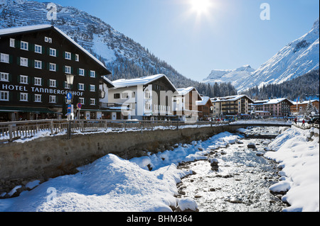 River in the centre of the resort of Lech, Arlberg ski region, Vorarlberg, Austria - Stock Photo