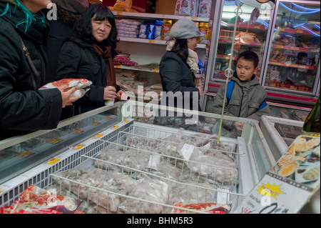 Paris, France, Asian Woman Food Shopping in Chinese Supermarket, 'The Big Store' in Chinatown, Frozen Food Display - Stock Photo