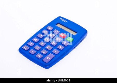 A pocket calculator on a white background Stock Photo