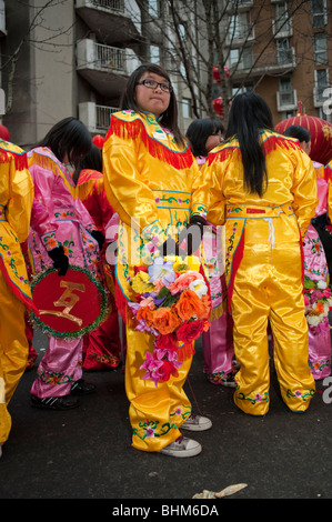 Paris, France, Chinese Women Dressed in Traditional Chinese Dresses in 'Chinese New Year' Carnival in Chinatown - Stock Photo