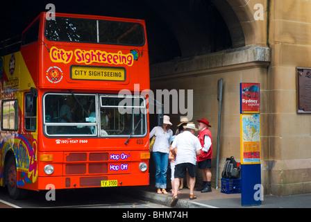Open-top double-decker tourist bus - Stock Photo