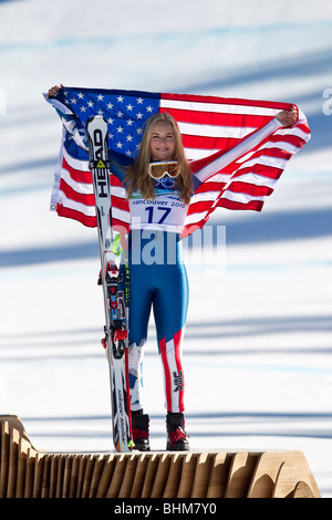 Lindsey Vonn (USA), bronze medal winner in the Women's Alpine Skiing Super G event at the 2010 Olympic Winter Games, - Stock Photo