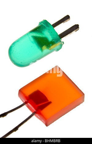 Red and Green Light Emitting Diodes on white - Stock Photo