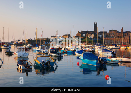 High tide during a summers morning at Penzance Harbour - Stock Photo