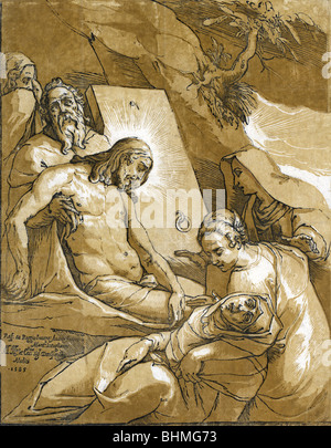 Historic woodcut print published in 1585 showing the entombment of Jesus Christ. - Stock Photo