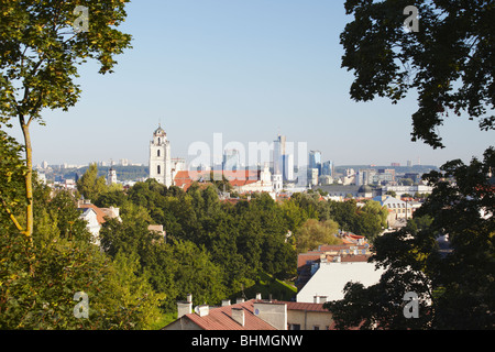 View Of Old Town With St John's Church, Vilnius, Lithuania, Baltic States, Eastern Europe - Stock Photo