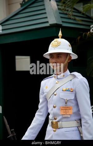 Ceremonial Police or Army Guard at Grand Palace complex Bangkok Thailand - Stock Photo