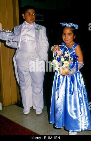 Flower Girl And Ring Bearer At Church Wedding Johnstown Stock Photo
