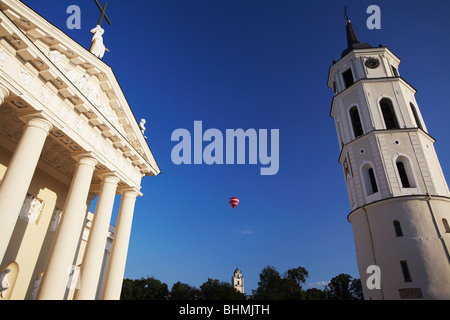 Hot Air Balloon Between Vilnius Cathedral And Belfry, Vilnius, Lithuania, Baltic States, Eastern Europe - Stock Photo