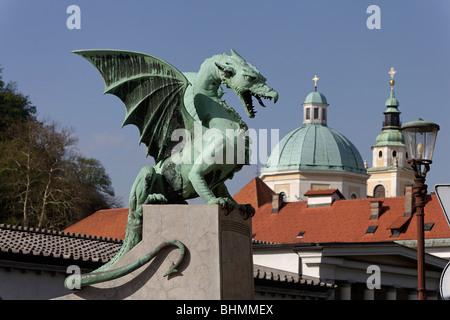 Ljubljana,Dragon Bridge,St Nicholas Cathedral,Slovenia - Stock Photo