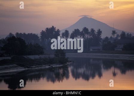 View of lagoon and mountain outside Banda Aceh on island of Sumatra Indonesia world's largest Muslim nation - Stock Photo