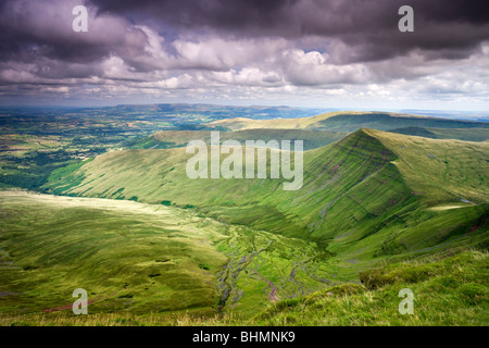 Cribyn viewed from Pen-y-Fan, the highest mountain in the Brecon Beacons National Park, Powys, Wales, UK. Summer - Stock Photo