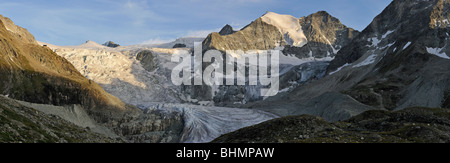 The Moiry Glacier in evening light at sunset in the Pennine Alps / Walliser Alpen, Valais / Wallis, Switzerland - Stock Photo