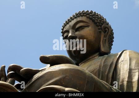 Giant Buddha/Po Lin Monastery in Hong Kong - Stock Photo
